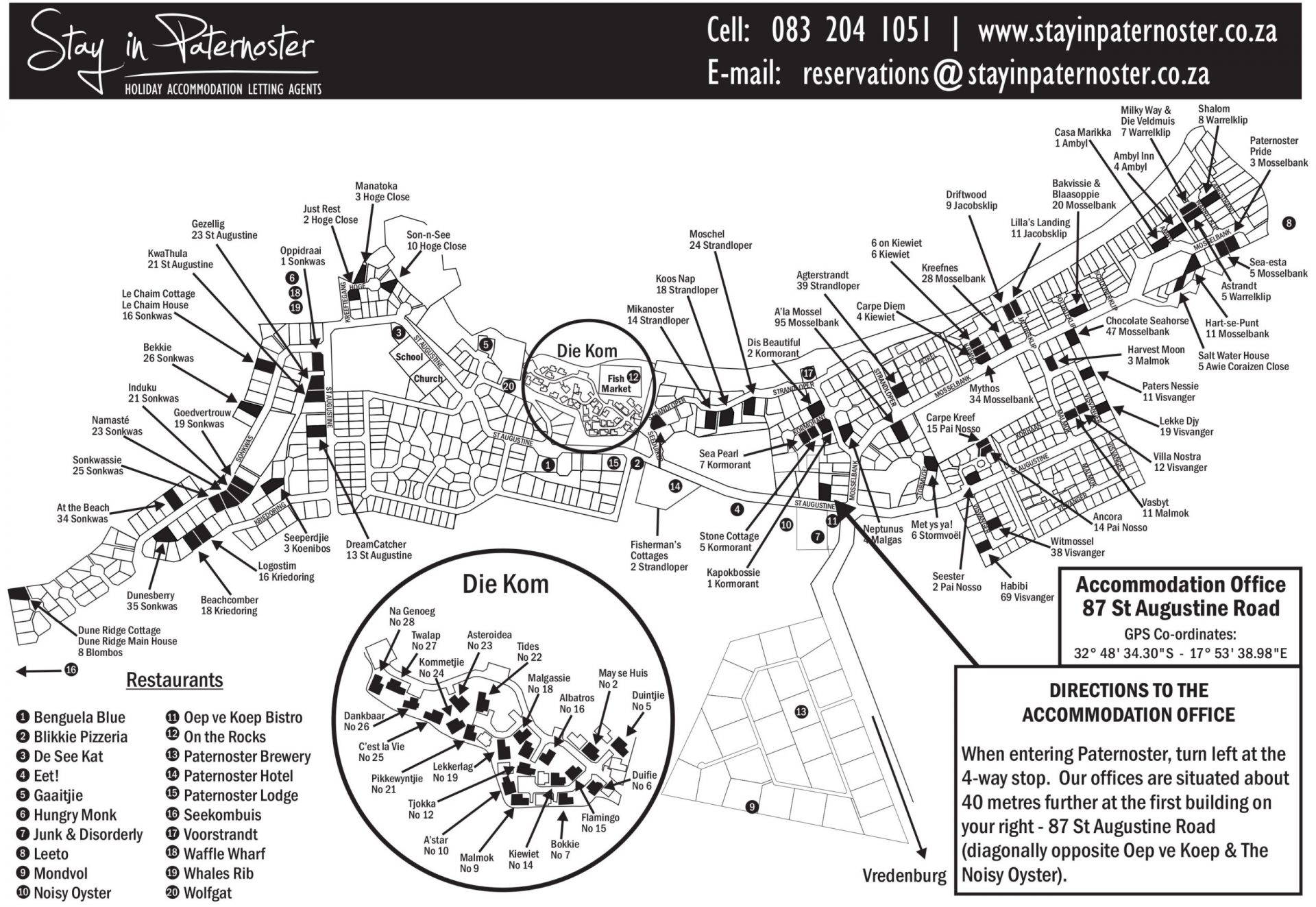 Accommodation map for Paternoster